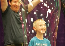 8-4-12 Nathan DePrekel 6 yrs old from Grandville, practipates in the Bubble Wonders show @! Walker Lib. Photo by Karen Waite